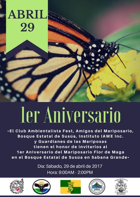 Flyer 1er Aniversario Mariposario